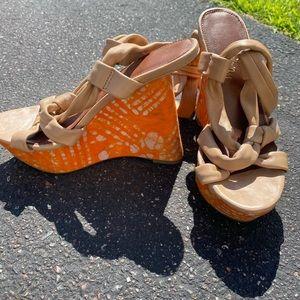 Sam Edleman Tan Leather Wedge Sandals - womens 8